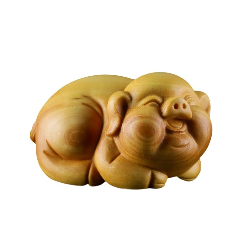 Ручной работы древесина тополя свинья отображенный Искусство ремесло Модель Лучший подарок на день рождения игрушка декор искусство свинья