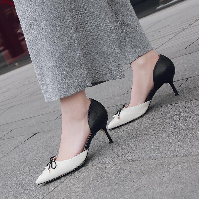 Pompes De Arden Noeud Papillon Bureau Mode Hauts Femmes Glissent Pointu Dames Printemps Chaussures Sur Furtado Bout Automne Talons Dame 2019 La rwq8gUr