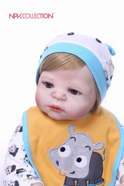 NPK 57 см всего тела силикона мальчик возрождается игрушечные пупсы, куклы принц младенцев волосы для куклы подарок на день рождения детей Brinquedos