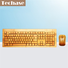 Techase Wireless Keyboard and Mouse Combo Suit Teclado E Mouse Sem Fio Bamboo Klavye Mouse Set For Desktop Computer Gaming Mause