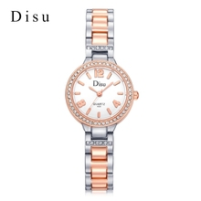 Disu Brand  Fashion Women Bracelet Watches Luxury Rose Silver Dress Quartz Wristwatches Crystal Casual Sport Wristwatches Clock