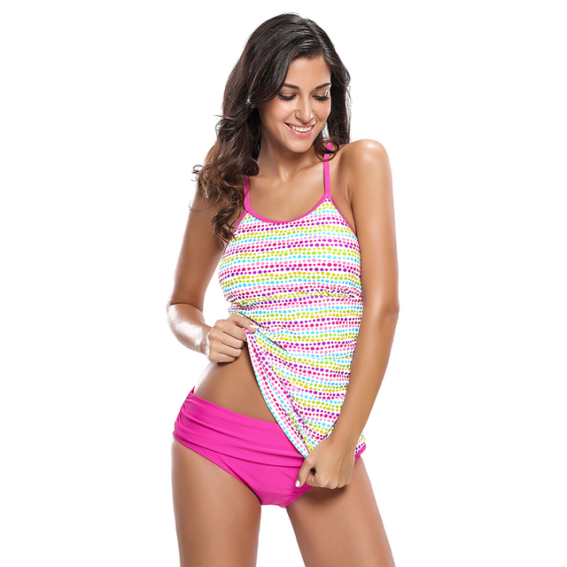 77d223521b01a Sexy Swimwear Girl Two Piece Plus Size Bathing Suit 2017 Bikini push up  Meisje Colorful Polka Dot Rosy Tankini Swimsuit