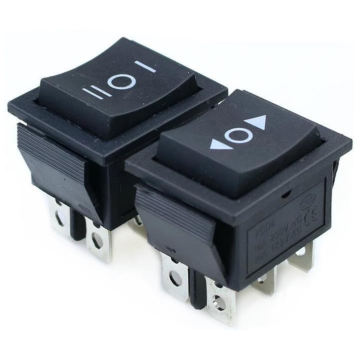 KCD4 1PCS Black Rocker Switch Power Switch ON-OFF-ON 3 Position 6 Pins No Lights  16A 250VAC/ 20A 125VAC
