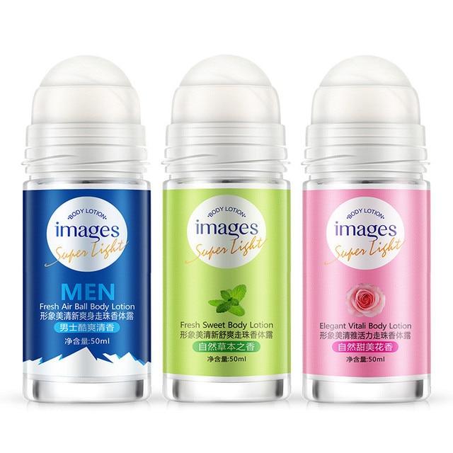 Imágenes bola loción corporal antitranspirantes Underarm desodorante rollo en botella mujeres fragancia hombres suave Perfumes secos