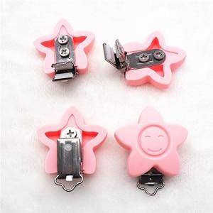 Image 2 - Chenkai chupeta facial de silicone, flor de silicone para sorriso, suporte de mordedor, clipes diy, estrela do bebê, acessórios de brinquedo, sem clippa, 20 peças