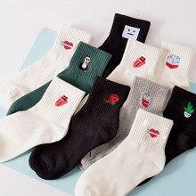 Sale Spring Heart Cotton Harajuku Women Socks flower cartoon Tongue Black White Boys Girls Funny