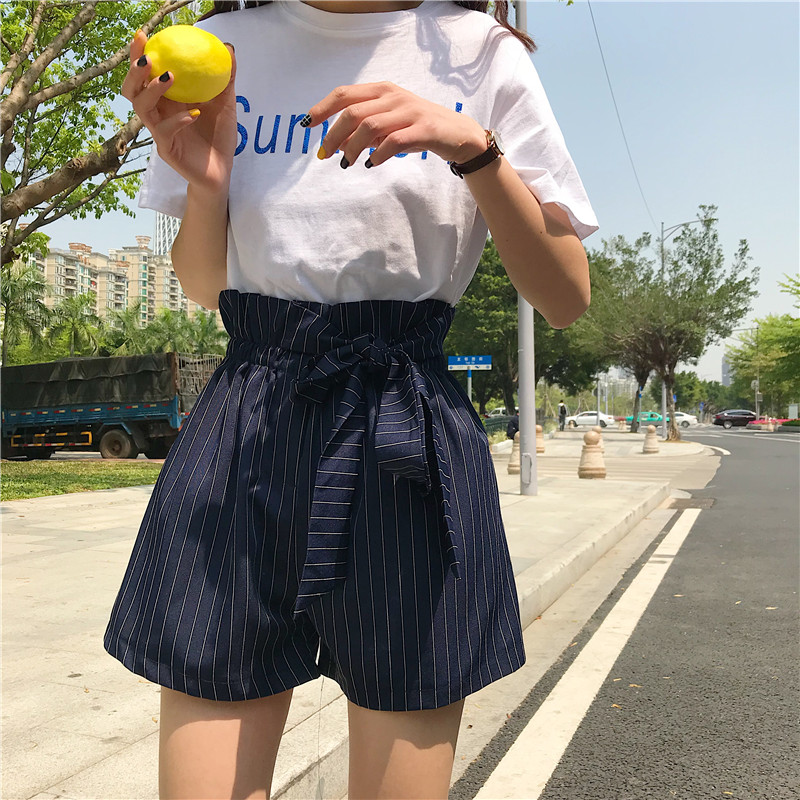 Pleated Striped   Shorts   Women Korean Bandage Bow Loose High Elastic Waist Outwear Boho   Shorts   Summer Beach Casual Wide Leg   Shorts
