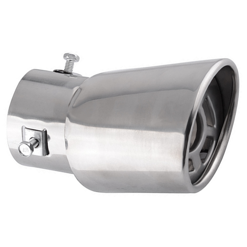 1pc 63mm Car Exhaust Pipe Silver Stainless Steel Oval Rear Exhaust Pipe Tip Tail Muffler Cover High Quality Suitable For Cars