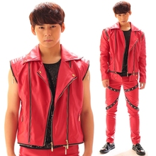 New Fashion Red Nightclub Bar Dj Rock Punk Zipper Sleeves Detachable Man Singer Costumes Outerwear Male Personality Slim Jacket