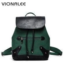 Под змеиную кожу Женские соломенные строка Рюкзаки школьный небольшой женский сумка Лоскутная заклепки Bagpack женская летняя сумка