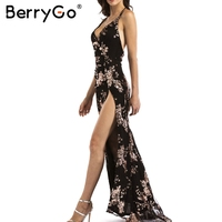 BerryGo Sexy Lace Up Halter Sequin Party Dresses Women Blackless High Split Maxi Dress Womens Clothing