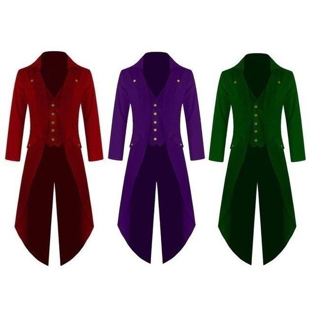 6cdfbfcb8187 Men's Outwear Steampunk Vintage Tailcoat winter military Jacket Gothic  Victorian Frock Coat Batman Uniform Costume 4XL Size Plus