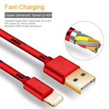 1/2/3M Red durable 8 pin Cable to USB Charger Cord Braided Fast Rapid Charging Cable charger for iPhone 7 6 6s plus 5 5 s 8 iPod