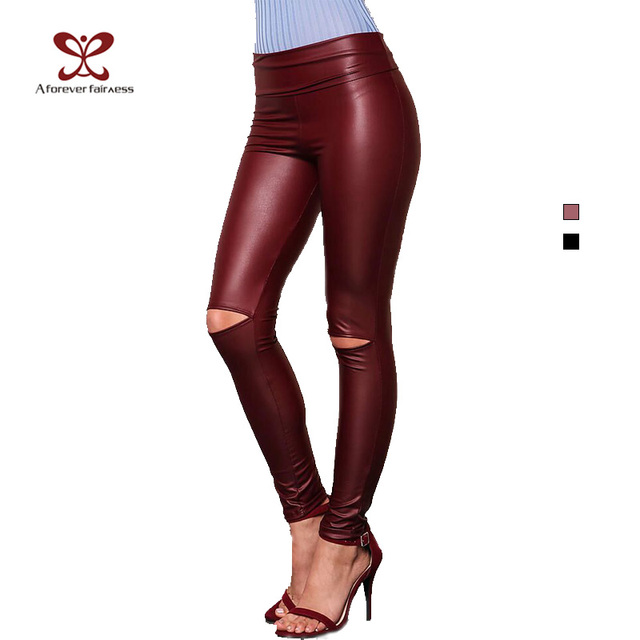 A FOREVER 2017 Spring Womens LeggingsTrend Fashion Sexy Slim High Elasticity Long Pants High Waist  Knee Hole Pencil Pants 1046