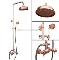 Antique Red Copper Bathroom Wall Mounted 8 Shower Head Rain Shower Faucet Set / Dual Handles Mixer Tap + Handheld Shower Wrg524