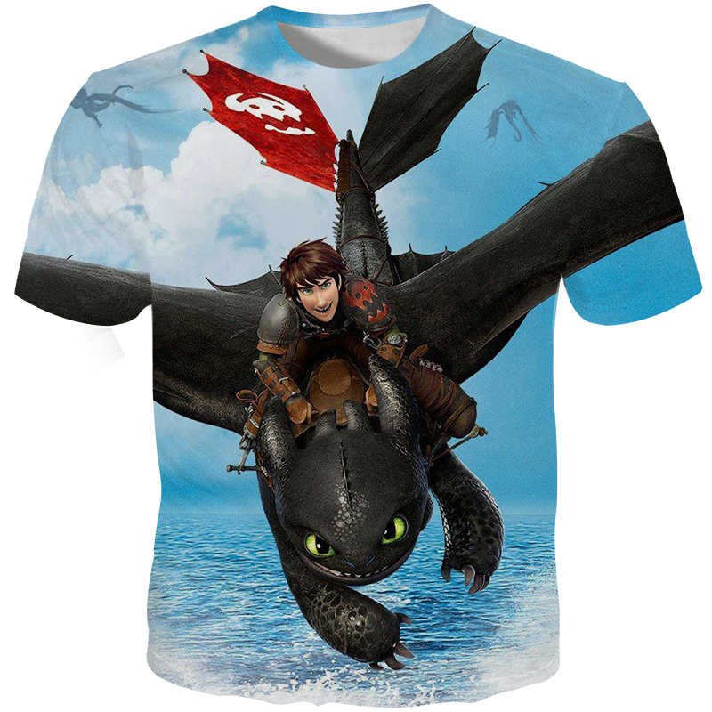 5332b94fa ... Cloudstyle 2019 New Summer Male Tshirt 3D Print Night Fury Tee Shirts  Funny Anime Cartoon Dragon ...