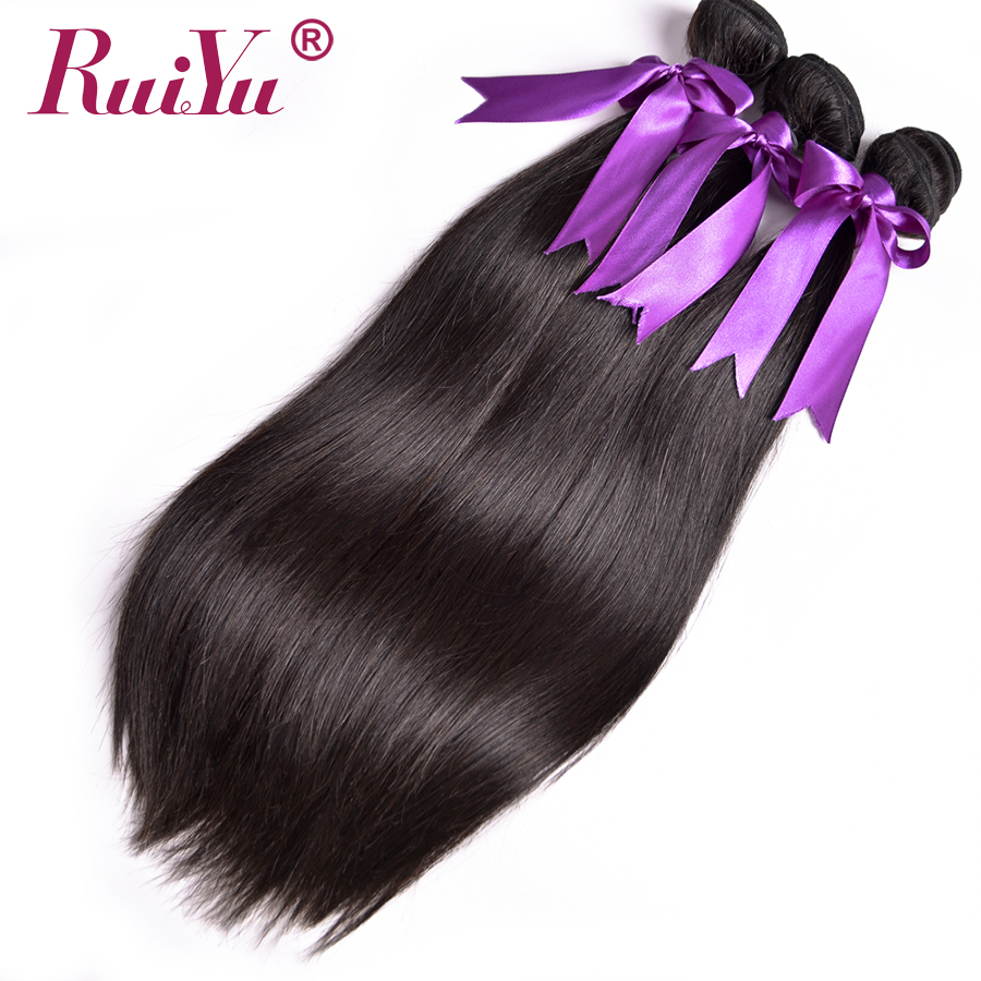 RUIYU Hair Peruvian Straight Hair Bundles Human Hair Bundles 1/3/4 Bundle Deals Double Weft NonRemy Hair Extension Natural Color