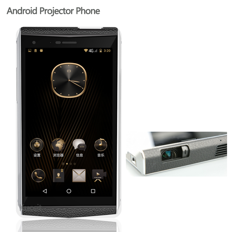 China Original Kcosit VVe Projetor Telefone Android 6.0 Telefone Celular de Luxo Corpo De Couro 5.9 FHD 120 Lumen 16.0MP Carregador Rápido