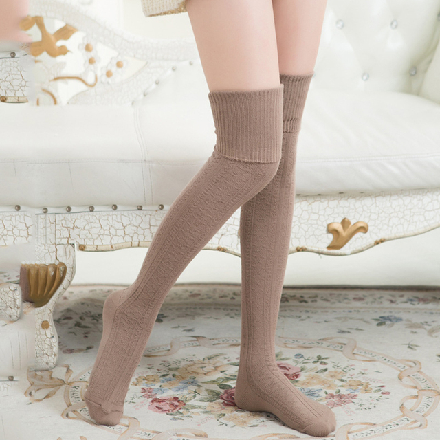 a0b151d38065 HOT Women Cotton Knitted Stockings Sexy Warm Thigh High Over Knee Socks  Pantyhose Vintage Solid Color