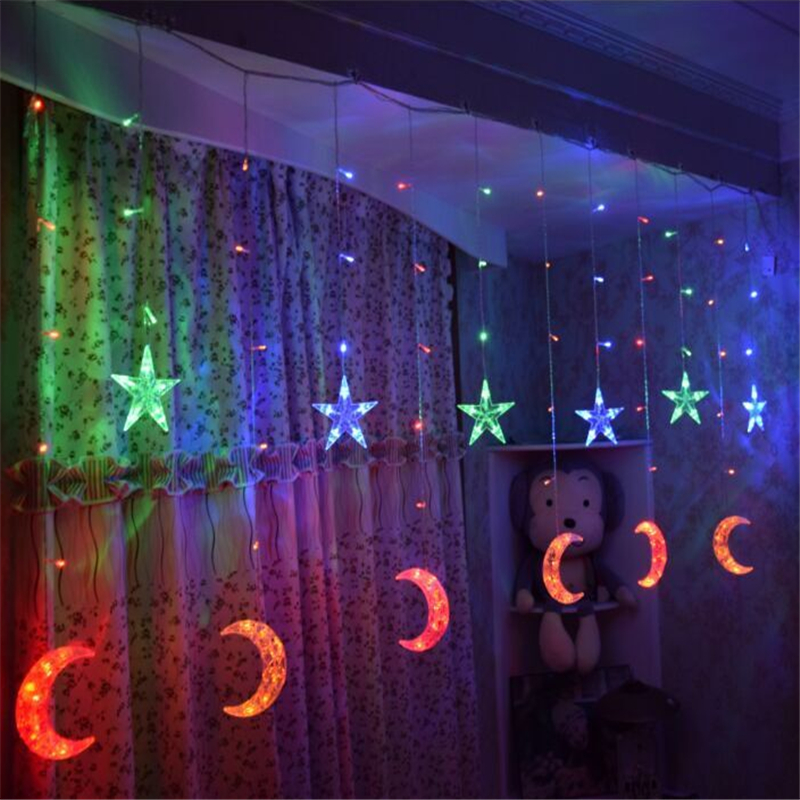 EID Mubarak Star Moon Led Light Strip Ramadan Decoration for Home Muslim Islam EID Party Favors Wedding Decoration Mariage,Q