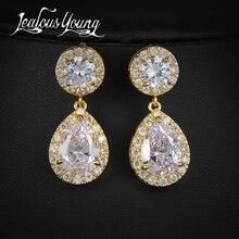 New Fashion Round Circle Water Drop Dangle Earrings Jewelry Sweet Cute Long Earings For Women Wedding Gift Oorbellen AE192