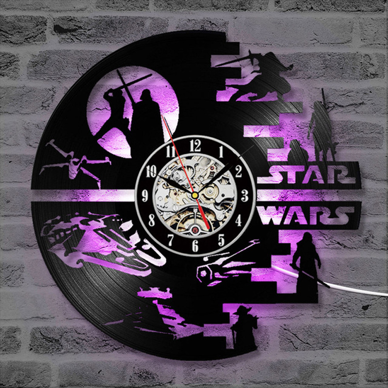 12in 3d Wall Clock Star Wars LED Wall Clock With 7 Colors Modern Design Movie Vintage Vinyl Record Clocks Wall Watch Home Decor