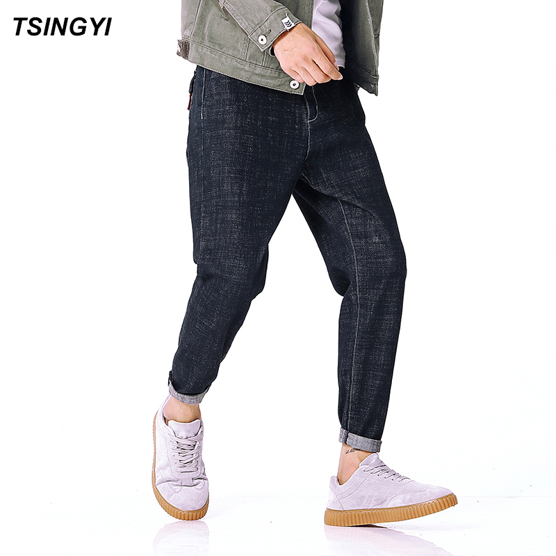 Tsingyi Casual Boys Denim Jeans Men Homme Black Pencil Pants Long Length Jogger Mens Trousers Plus Size 28-42 tsingyi camouflage patchwork denim jeans men homme casual straight pants mid waist long length mens trousers plus size m 5xl
