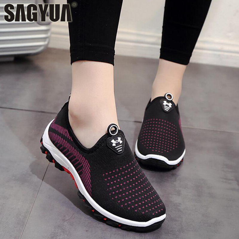 Spring Autumn Women Ladies Feminine Fashion Casual Mesh Air Shallow Low Comfort Zapatillas Slip-On Loafers Shoes Plimsolls T628 foot sequins slip on plimsolls