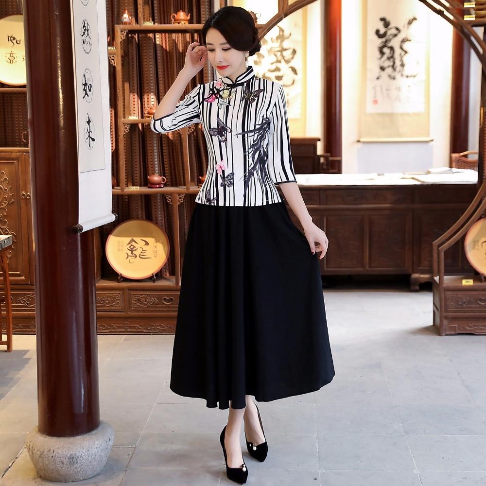Nouveau été femmes Blouse jupe ensembles style chinois traditionnel 2 pc chemise col Mandarin Cheongsam Qipao robe taille S-XXXL 9960