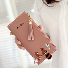 2019 Cute Womens Wallet Lovely Cartoon Animals Long Leather Female Coin Purse Hasp Zipper Women Girl Card Holder