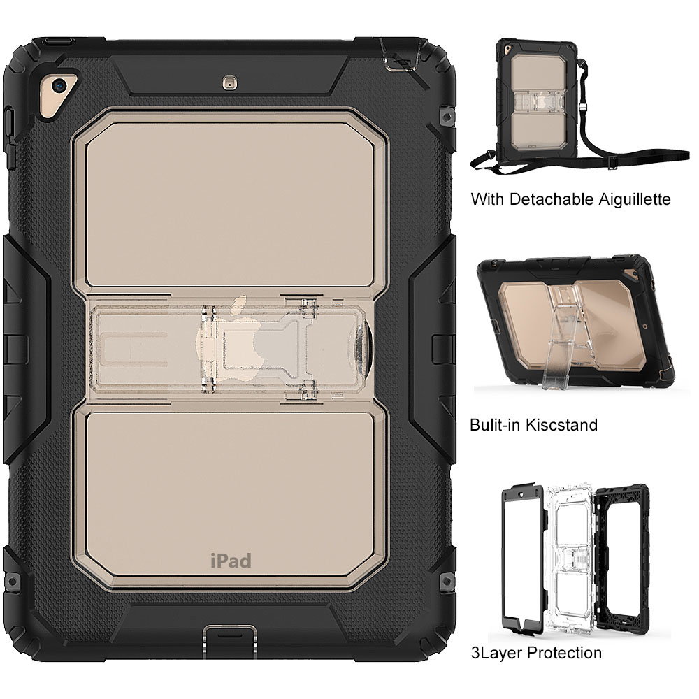 2018 Hot Sale Tablet Case for iPad Air 2 Heavy Duty PC Rugged Triple-Layer Hybrid Stand Shell Cover for iPad Air 2 Coque Capa