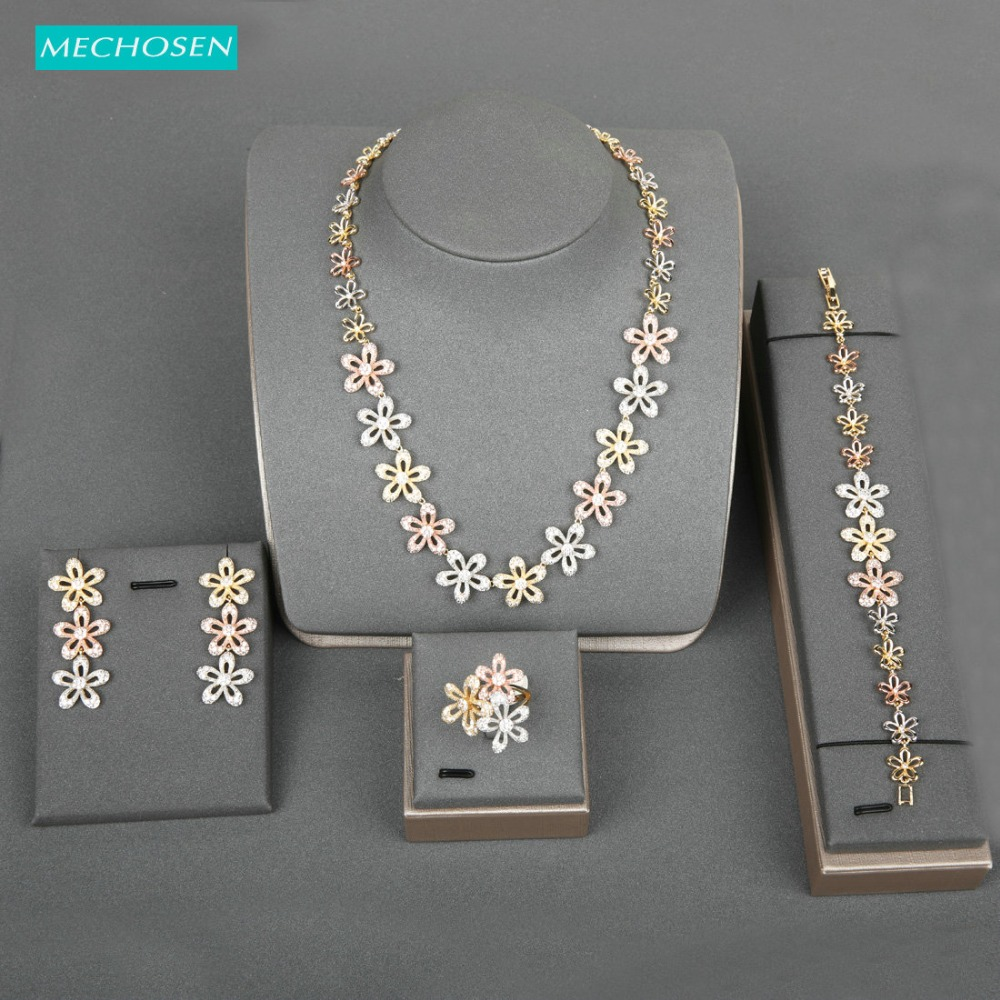 Ensemble de bijoux en Zircon brillant en forme de fleur de luxe délicat pour mariée, bague de mariage, collier, boucles d'oreilles, Bracelet, ensembles de cadeaux