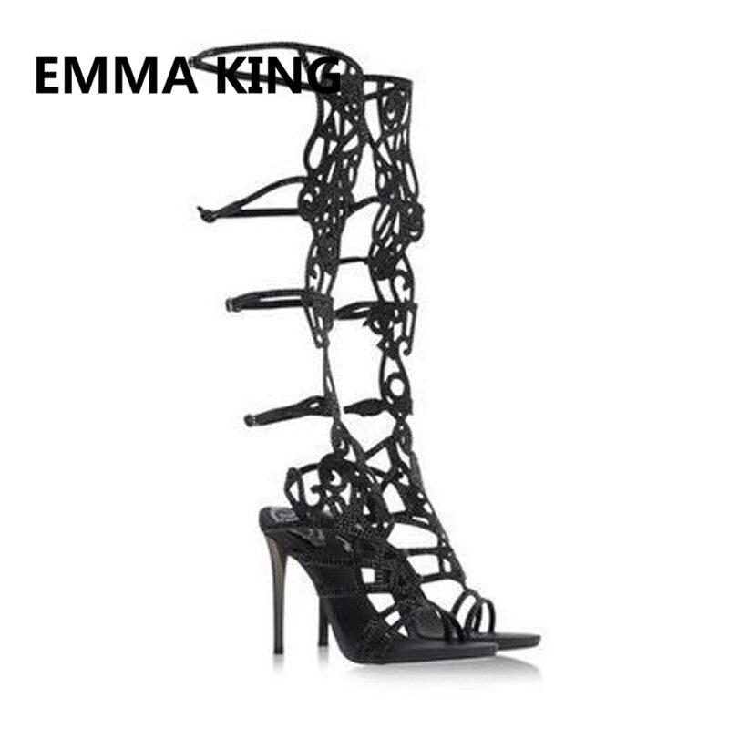 Luxo de Cristal Cheio de Mulheres de Verão Na Altura Do Joelho Alta Gladiador Sandálias de Dedo Aberto Recorte Sexy sapatos de Salto Alto Sandálias Das Senhoras Sapatos Da Moda Mulher - 4