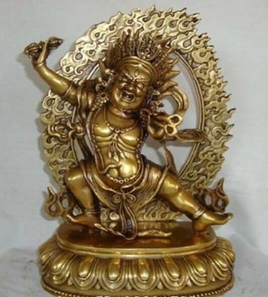 9''Tibet Tibetan Buddhist Vajrapani buddha bronze statue