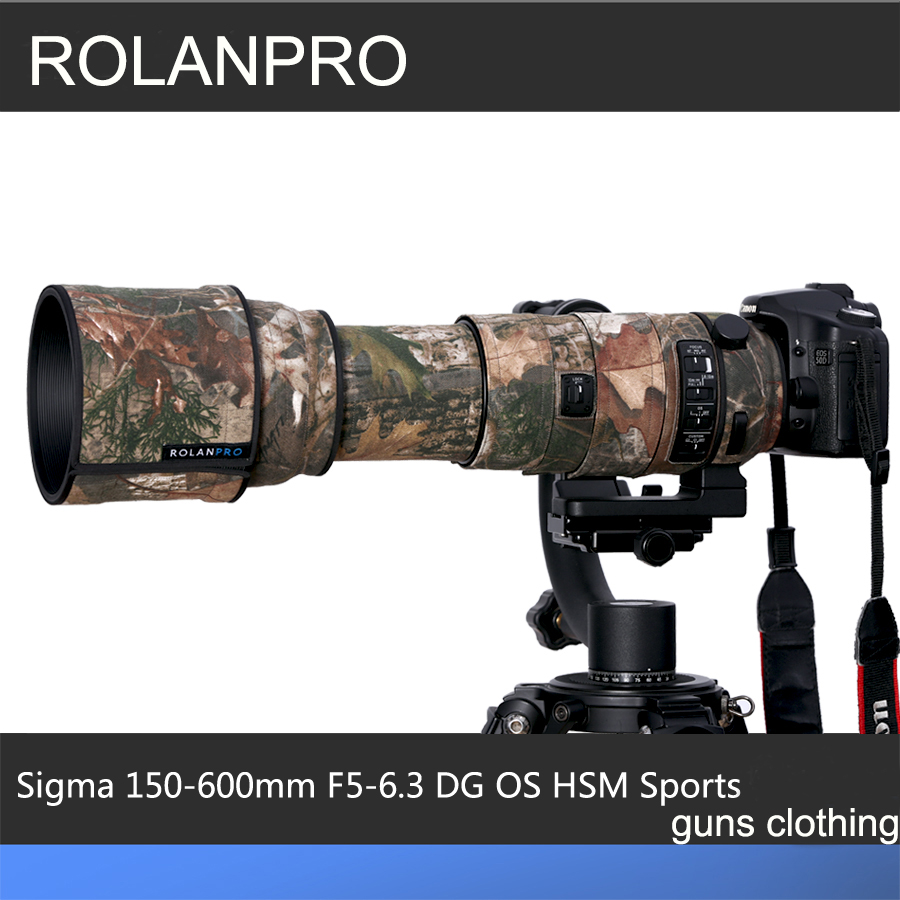 ROLANPRO Lens Clothing Camouflage Rain Cover for SIGMA 150-600mm F5-6.3 DG OS HSM Sports Lens Protection Sleeve Guns Case Cloth new sigma contemporary 150 600mm f 5 6 3 dg os hsm telephoto zoom lens for nikon