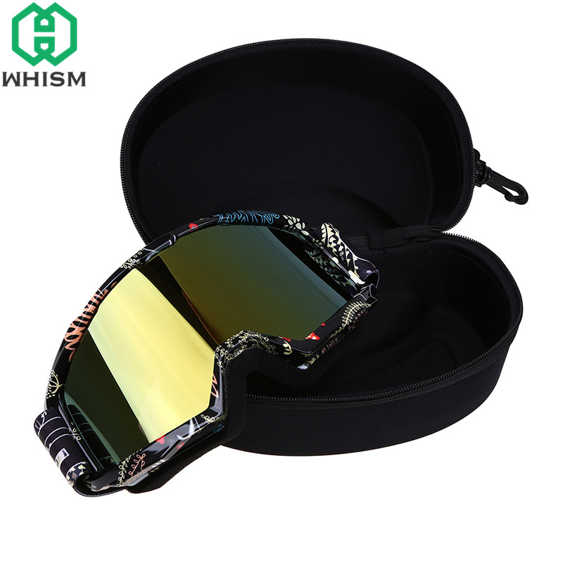 WHISM Portable EVA Ski Goggle Storage Box Glasses Protector Case Skiing Glass Holder Zipper Sunglass Organizer with Buckle Hook