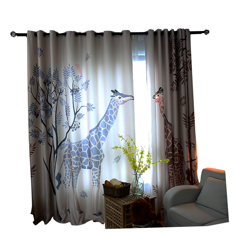 Cortinas de dibujos animados coreanos jirafa infantil cortinas de - Textiles para el hogar