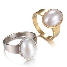 d1f32c999 Plateado Oval imitación perla 316L anillos de boda de acero inoxidable para  hombres mujeres al por mayor