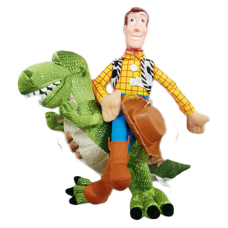 41d0b551a Original Toy Story Plush Dolls Woody Rex the Green Dinosaur Stuffed Animal  Toy Birthday Christmas New