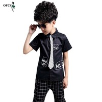 2017 New Design Child Kids Formal Shirt Shorts And Tie Sets Boy Brand Preppy Style Letter