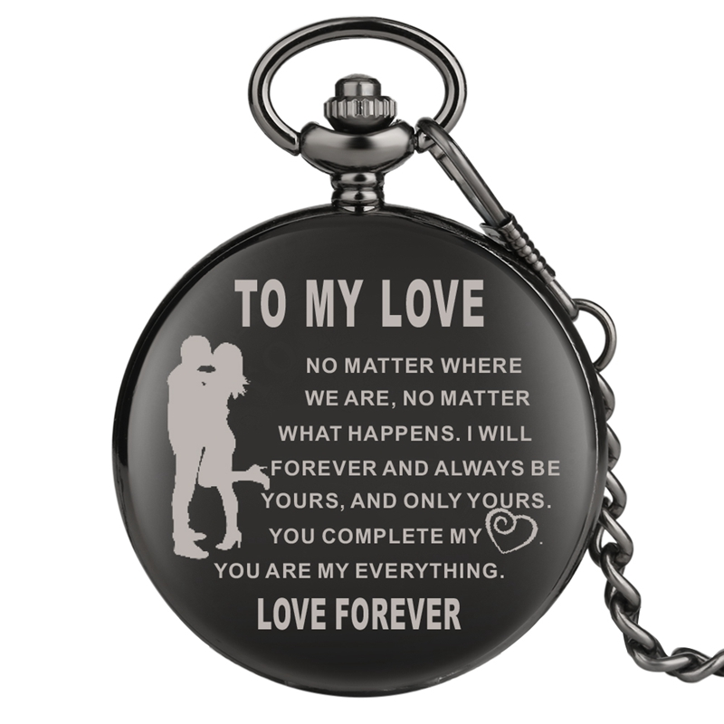 Top Souvenir Gifts TO MY LOVE Quartz Pocket Watch Chain Retro Black FOB Clock Valentine's Day Birthday Gift For Men Women Couple