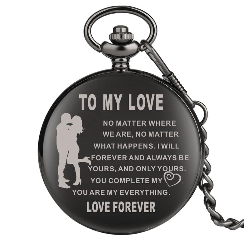 Top Souvenir Gifts TO MY LOVE Quartz Pocket Watch Chain Retro Black FOB Clock Valentine's Day Birthday Gift For Men Women Couple