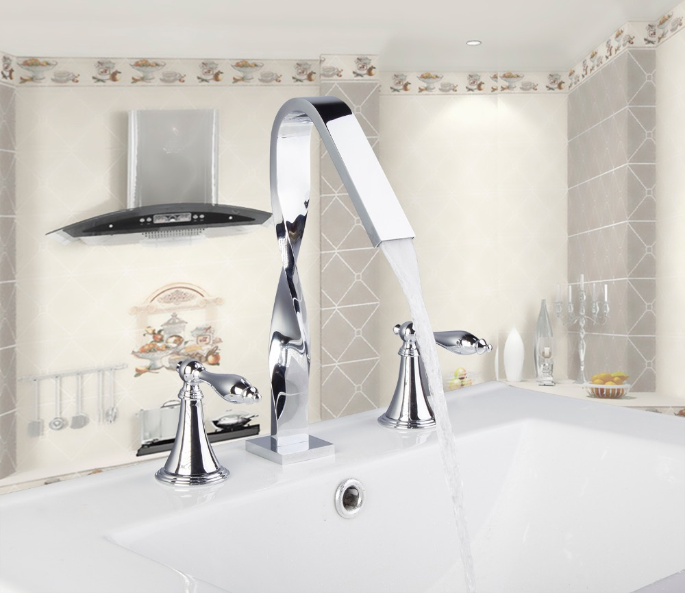 54H Lurxury Chrome Construction Deck Mounted Bathroom Basin Sink Bathtub Double Handles Mixer Tap Faucet blondie blondie 6 lp