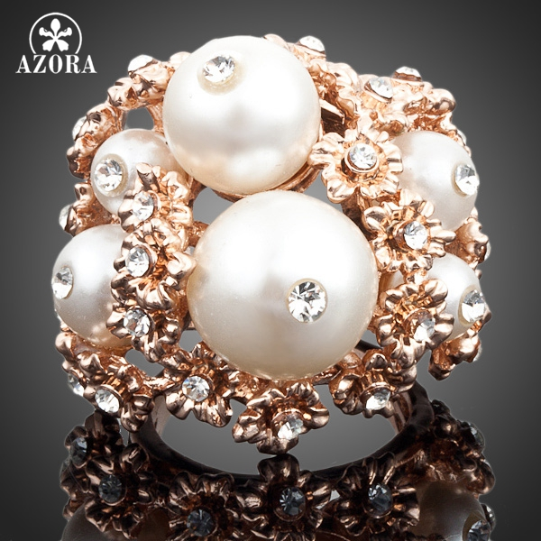 6a6fe9386 AZORA Rose Gold Color Stellux Austrian Crystal 6pcs White Beads Charm Ring  TR0027
