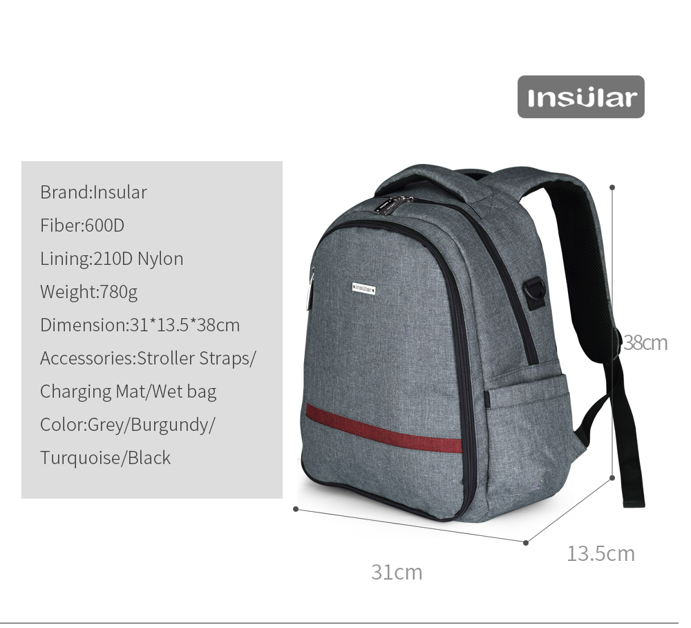 INSULAR Diaper Bag Fashion Mummy Maternity Nappy Bag Brand Baby Travel Backpack Large Capacity Baby Multifunction Outdoor Bags in Diaper Bags from Mother Kids