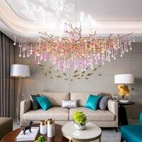 Modern Serip Copper Branch Water Drop Chandeliers Light Water Drops Chandelier Lighting Salon Copper Chandeliers Ceiling