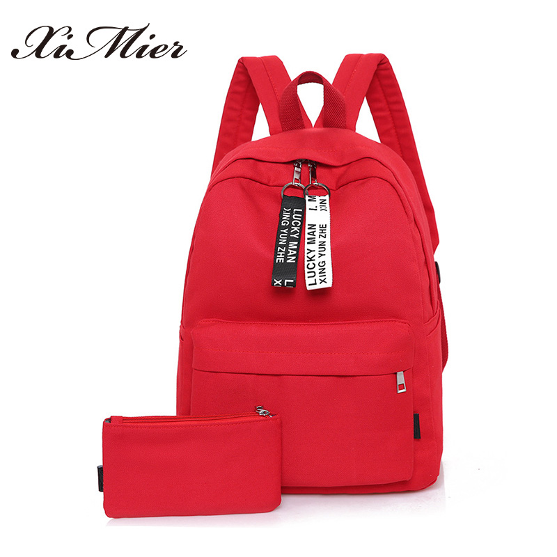fashion women backpack canvas letter zipper student school bag for teenage girls mochila rucksack solid red travel backpacks set  simple style backpack women canvas cartoon printing shoulder bag for teenage girls fashion lady rucksack designer school mochila