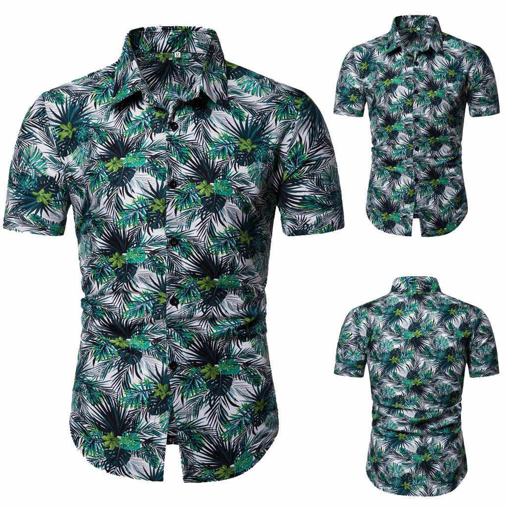 2019 2019 Для мужчин рубашка новый стиль Лидер продаж Для мужчин модный короткий рукав кнопки картины больших Размеры Повседневное Блуза Топ Рубашки высокого F1