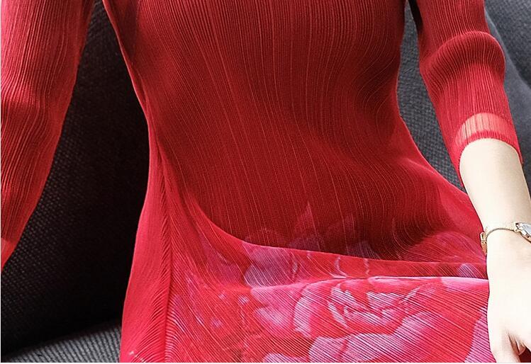 Élégante Élastique Taille Weight45 Imprimé Style 2019 Mi Printemps Pour Cheongsam Red Mince mollet Grande Haute Robe Femmes 75kg pqwv77d
