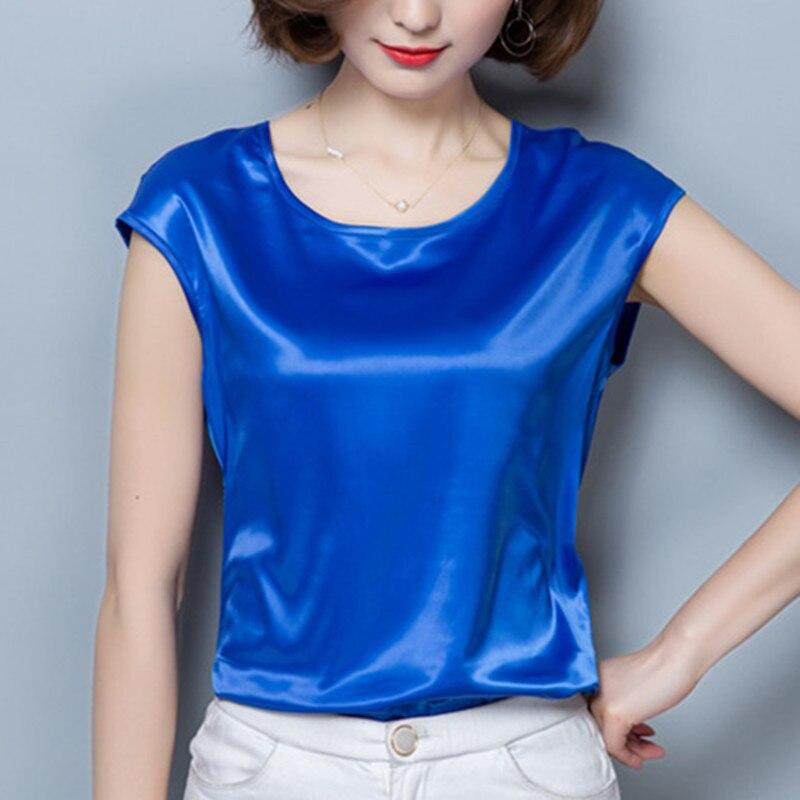 Women Tops And Blouses Summer Casual Silk Blouse Blusas Feminina Tops Sexy O-Neck Pink Shirts Plus Size 4XL/XXXL